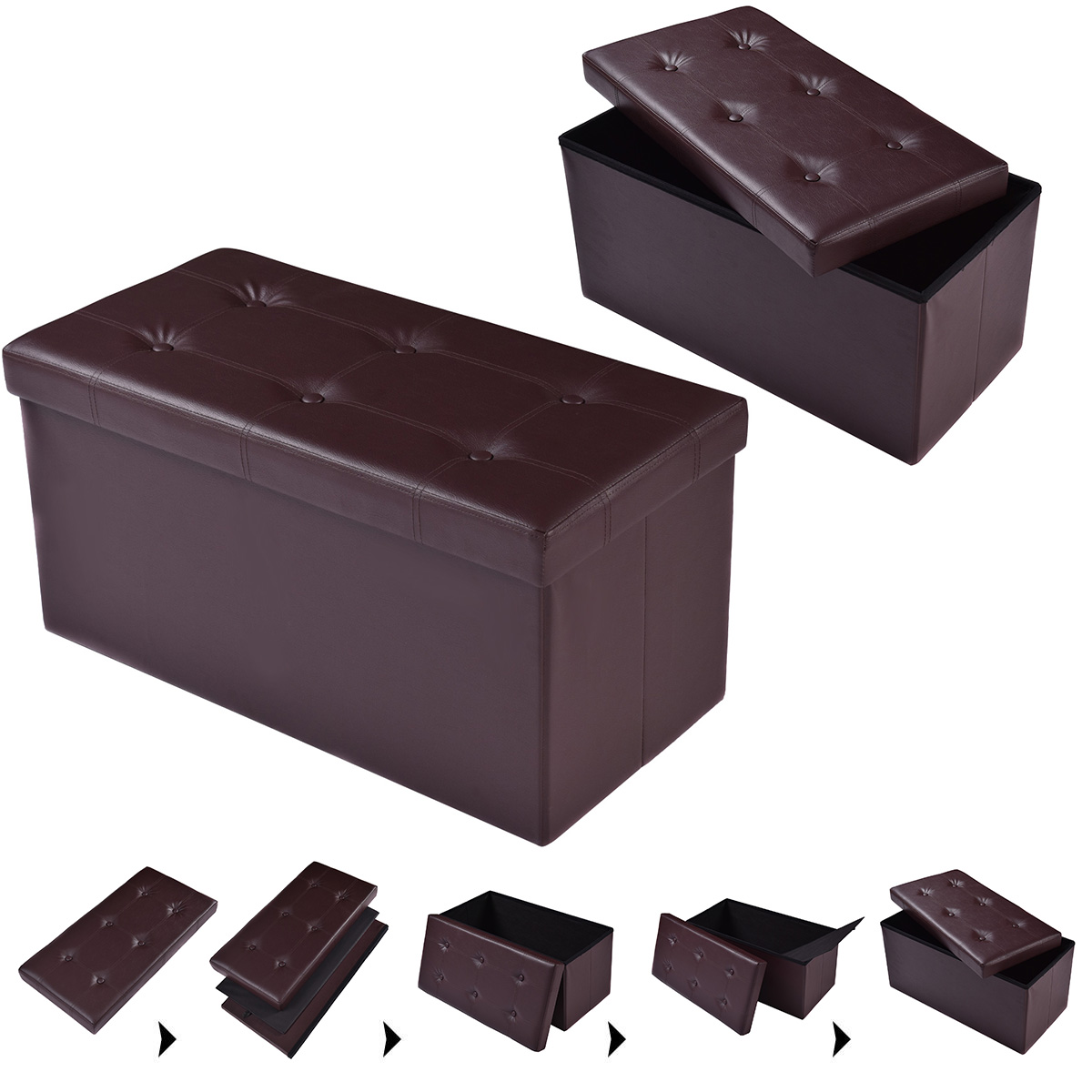 "Costway 30""x15""x15"" Large Folding Storage Faux Leather Ottoman Pouffe Box Stool (Brown)"