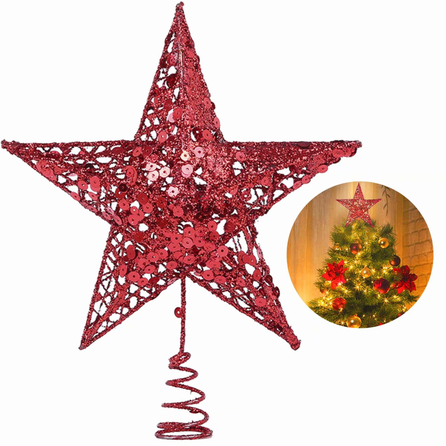 Christmas Tree Star Topper 9 8in Xmas Tree Topper Star Christmas Decoration Glittered Tree Top Star For Christmas Tree Ornament Indoor Party Home Decoration Red Walmart Com Walmart Com