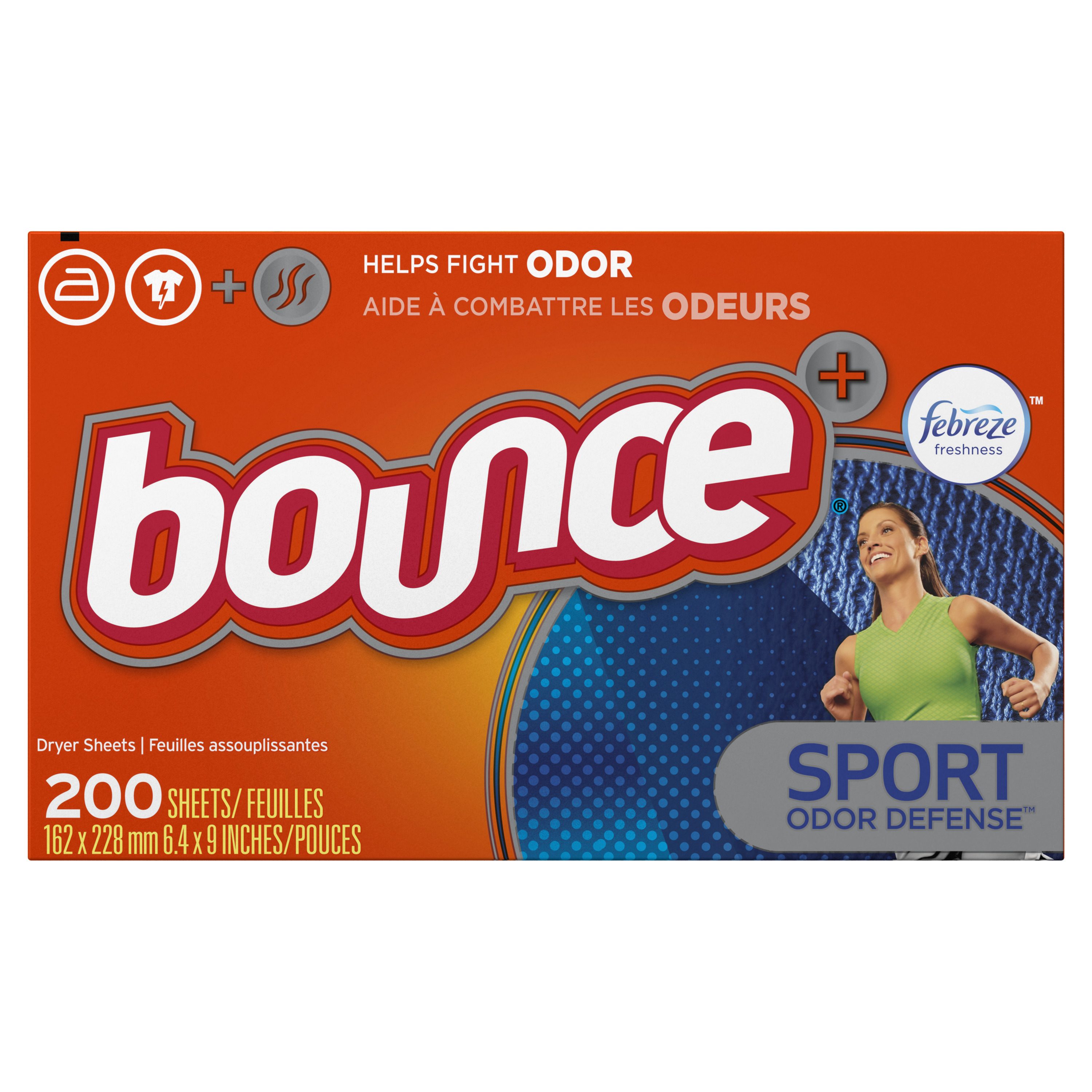 Bounce Fabric Softener Dryer Sheets with Febreze Freshness, Sport Odor Defense, 200 count