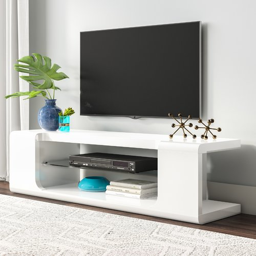 "MONARCH - TV STAND - HIGH GLOSSY WHITE WITH TEMPERED GLASS -  FOR TV'S UP TO 60""L"