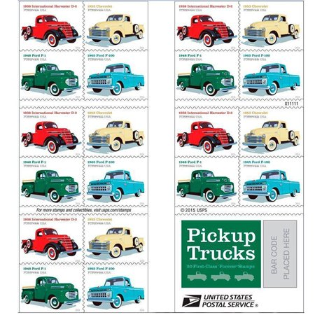 Pickup Trucks Sheet of 20 USPS Forever Postage Stamps 1938 International Harvester D2, 1948 Ford F1, 1953 Chevrolet, 1965 Ford -