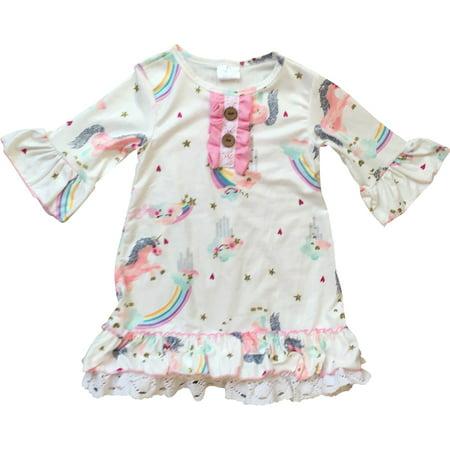 2t Flower Girl Dress (Toddler Girl Kids Ruffle Sleeve Unicorn Rainbow Flower Girl Dress Off White 2T XS 201297 BNY)