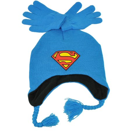 Blue Knitted Beanie (DC Comics Superman Knit & Glove Set Blue Ear Flap Beanie Super Hero Cartoon )