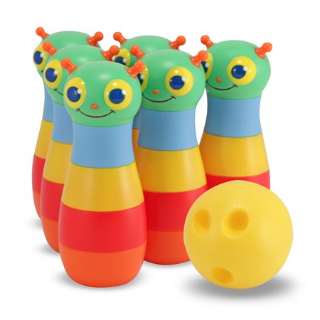 Melissa & Doug Sunny Patch Happy Giddy Bowling Set With 6 Pins, Bowling Ball, and Storage Bag ()