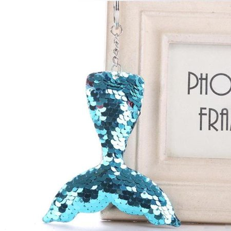 Mermaid Tail Sequin Purse Charm Keychain Blue (Mermaid Keychain)