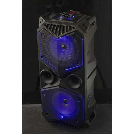 Massive 100W Bluetooth Speaker Portable Wireless LED Light Show Stereo Boom Box Style Rugged Party Speakers Built-in FM Radio Tuner USB & Micro SD Card Input 3.5mm Aux Jack Indoor Outdoor