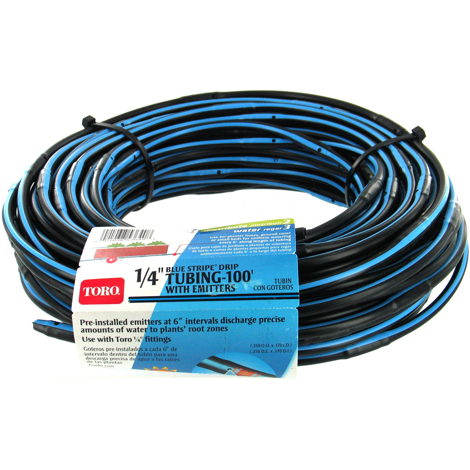 "Toro 53640 100' Roll 1/4"" Blue Stripe Drip Tubing with Emitters"
