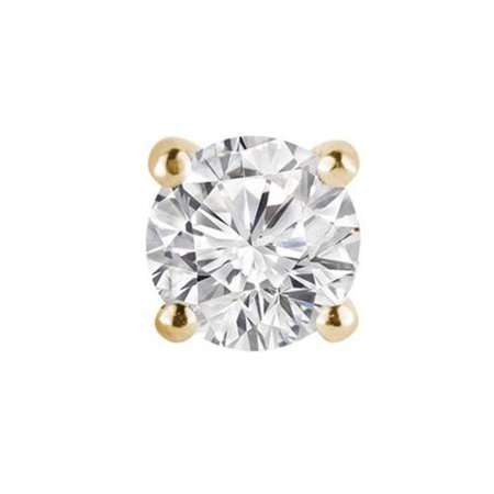 Majesty Diamonds 0. 5 CT Mens Premium Solitaire Round Diamond Stud Earring in 14K Yellow Gold, 0. 5 Carat
