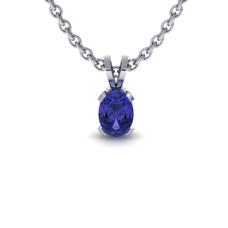 - SuperJeweler 1/2 TGW Oval Shape Tanzanite Necklace In Sterling Silver, 18 Inches