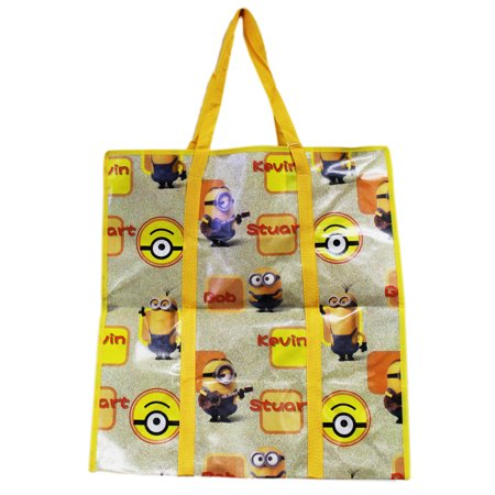 Minions Stewart, Kevin, and Bob Yellow Colored Jumbo Tote Bag