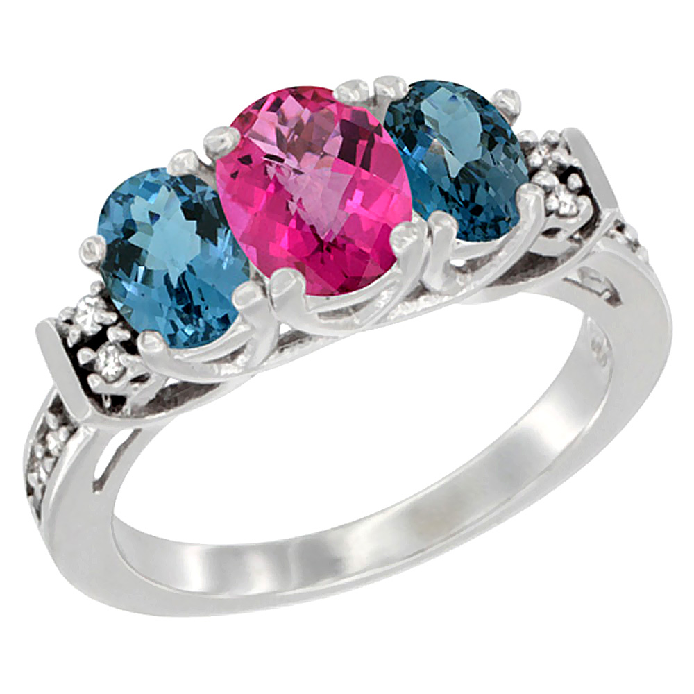 10K White Gold Natural Pink Topaz & London Blue Ring 3-Stone Oval Diamond Accent, sizes 5-10 by WorldJewels