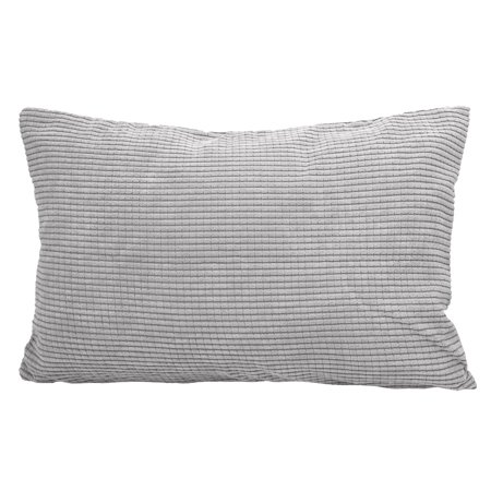 12 Inch Square Toss Pillow - Cushion Cover Toss Pillow Case Shell Velvet Corn Striped 12 x 18 Inches Grey