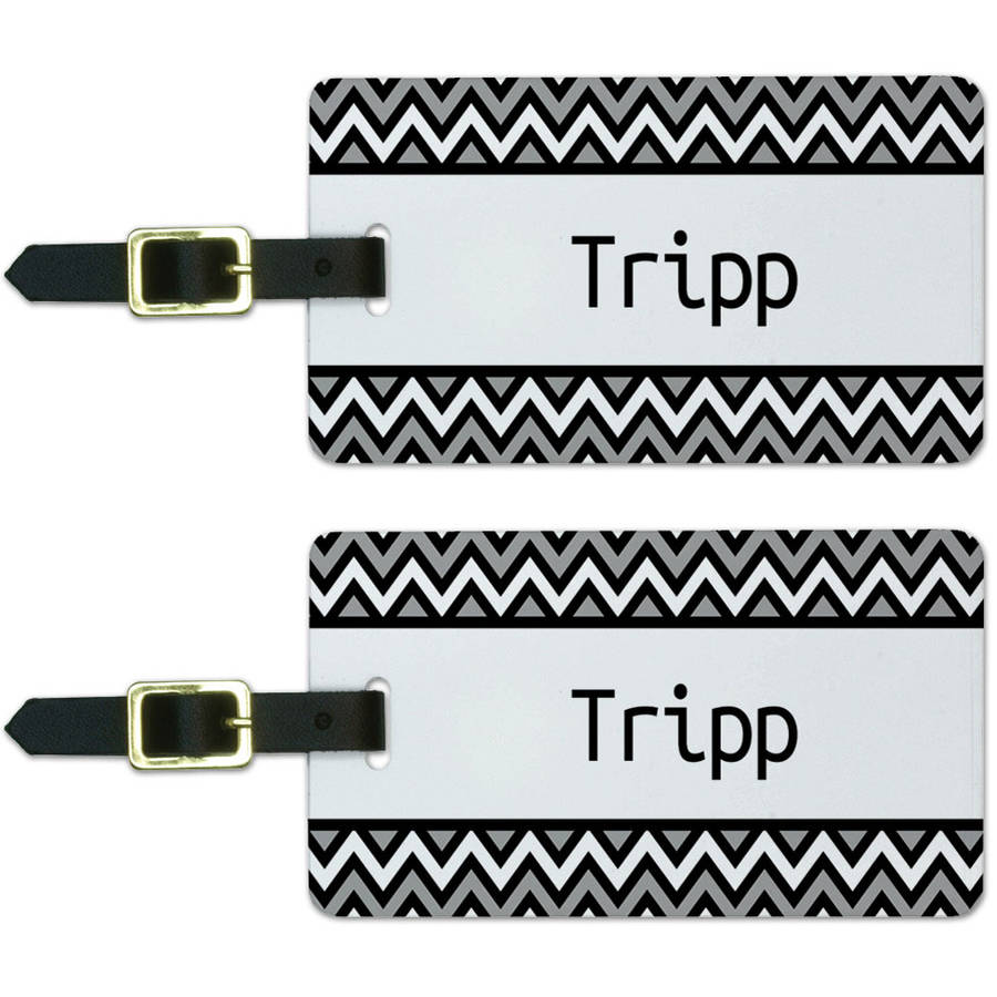 Tripp Black and Grey Chevrons Luggage Suitcase Carry-On ID Tags, Set of 2