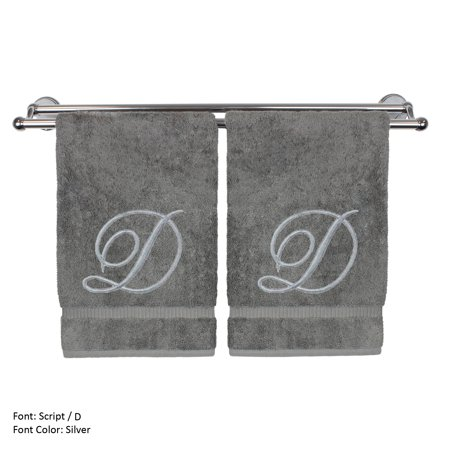 Monogrammed Hand Towel, Personalized Gift, 16 x 30 Inches - Set of 2 - Silver Embroidered Towel - Extra Absorbent 100% Turkish Cotton- Soft Terry Finish - For Bathroom, Kitchen and Spa- Script D Gray ()
