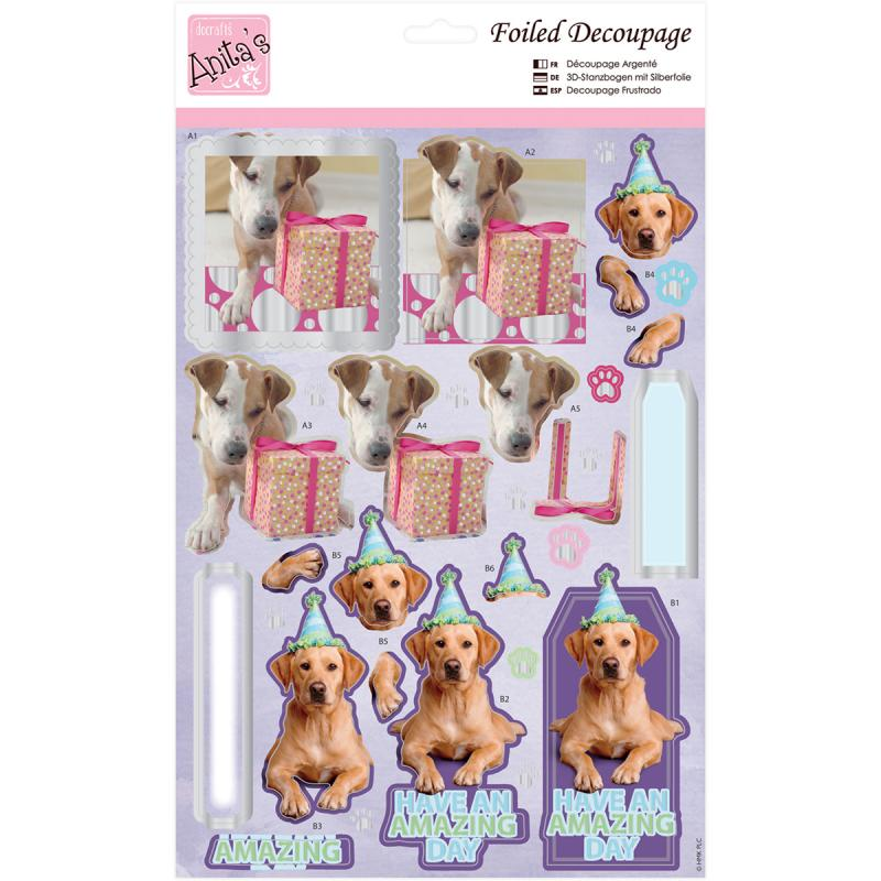 Anita's A4 Foiled Decoupage Sheet-party Pooches