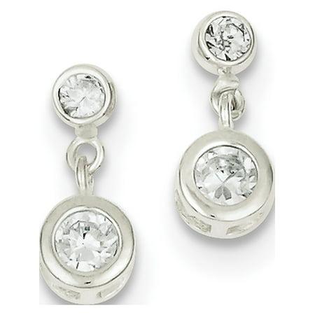 925 ronde en argent sterling Boucles d'oreilles CZ (6x13mm) de - image 2 de 2