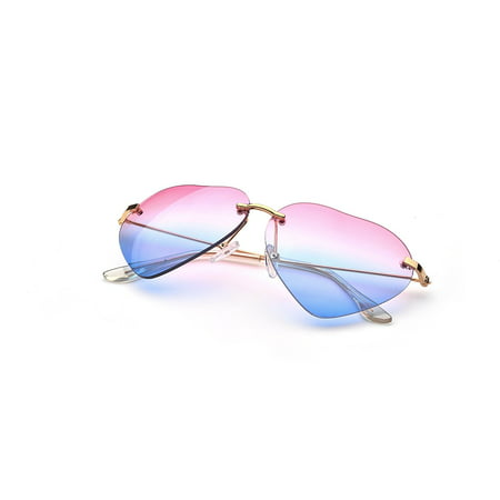 Heart Shape Fade Effect Color Rimless Style Sunglasses US (Best Sellers Sunglasses For Women)