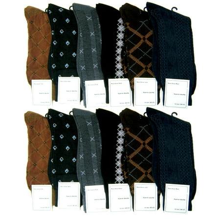 12 Pairs Men Dress Socks Multi Color Size 10 13 Fashion Casual Wholesale Lot New (Wholesale Men Clothing)