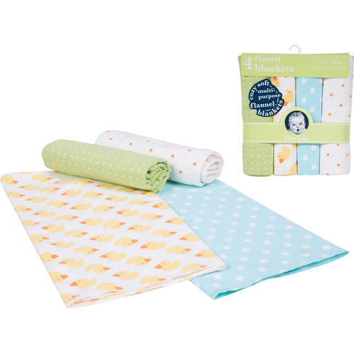 Gerber 4-Pack Flannel Receiving Blanket, Neutral
