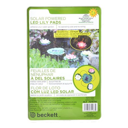 Solar Pals - Beckett Solar LED Lily Lights for Ponds 3 Lily Pad Lights