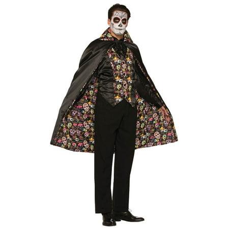 Morris Costumes Mens Day Of The Dead Skull Design Black Cape One Size, Style FM74686 - Mens Black Cape