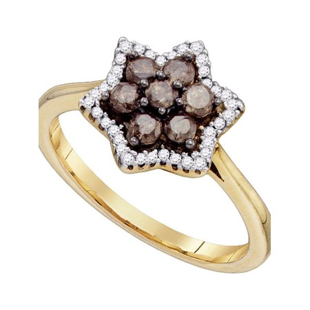 10kt Yellow Gold Womens Round Cognac-brown Color Enhanced Diamond Cluster Ring 1/2 Cttw - image 1 de 1