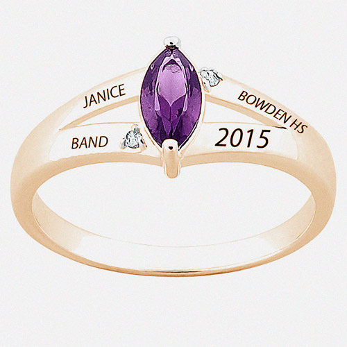 Personalized Girl's 18kt Gold Plated Sterling Silver Marquise Birthstone and Diamond Accent Class Ring