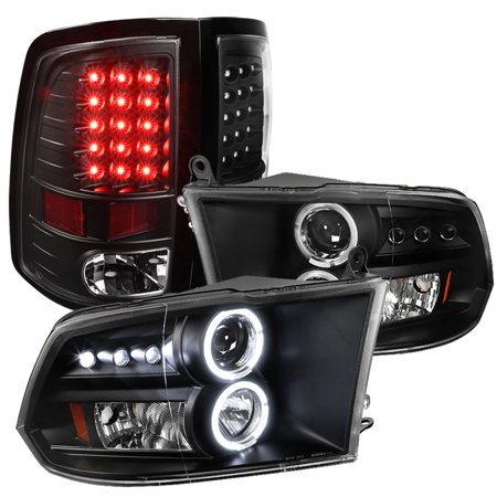 Spec-D Tuning For 2009-2012 Dodge RAM 1500 2500 3500 Black Halo LED Projector Headlights, LED Tail Lights (Left + Right) 2010 2011 (96 Dodge Ram Led Tail Lights)