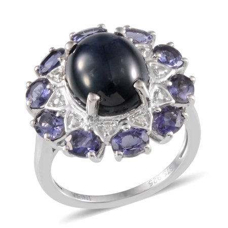 Diffused Star Sapphire Multi Gemstone Platinum Plated Sterling Silver Ring