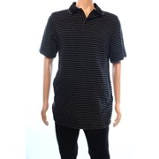 Tasso Elba NEW Black Mens Size Medium M Polo Rugby Signature Striped Shirt