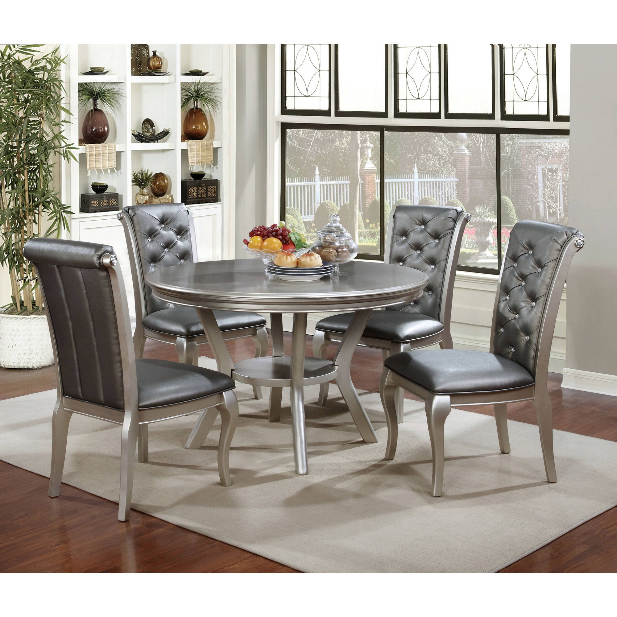 Furniture of America Minham Contemporary Round Dining Table Silver & Round Kitchen Table Sets