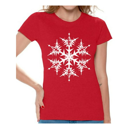 Awkward Styles Snowflake Shirt Snowflake Christmas T Shirts for Women White Christmas Snowflake Women's Holiday Top Christmas Snowflakes T-shirt Christmas Holiday Shirt Gift Idea for Christmas ()