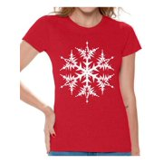 9c37bea3 Awkward Styles Snowflake Shirt Snowflake Christmas T Shirts for Women White  Christmas Snowflake Women's Holiday Top