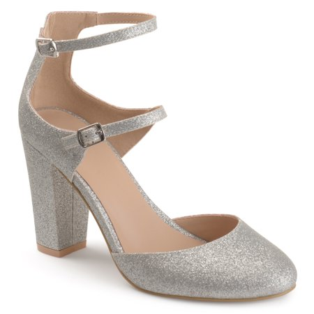 025cadb5a5e4 Women's Faux Leather Glitter Double Strap Chunky High Heels - Walmart.com