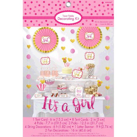 Baby Shower Pink and Gold 'It's a Girl' Candy Table Decorating Kit (23pc)