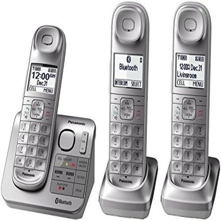 Panasonic KX-TGL463S Dect 6.0 link2Cell Bluetooth 3-Handset Landline Telephone, Silver & White (Certified (Bluetooth Enabled Mobile Phones)