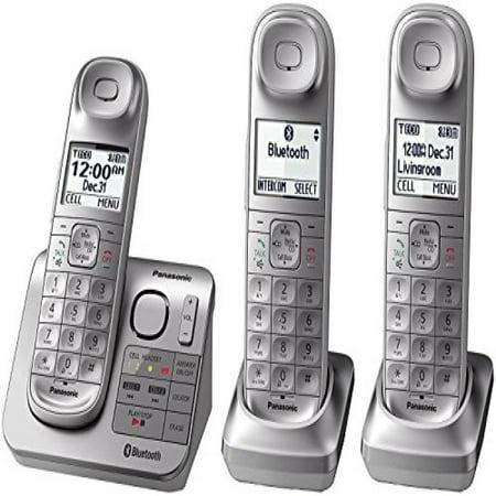 Panasonic KX-TGL463S Dect 6.0 link2Cell Bluetooth 3-Handset Landline Telephone, Silver & White (Certified