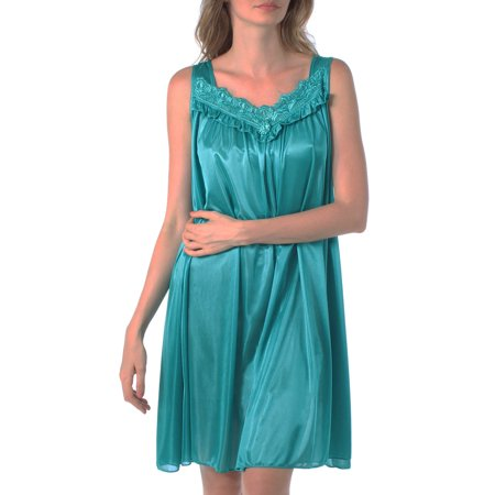 Venice Women's Silky Looking Embroidered Nightgown 42N Medium Teal (Renaissance Gowns Plus Size)