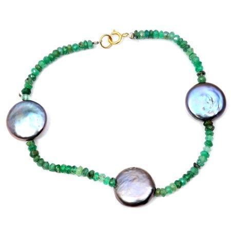 14k Yellow Gold 32.75 Carat Emerald Black Pearl Beaded Bracelet 14k Gold Bead Bracelets