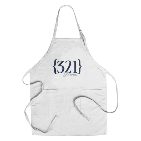Orlando  Florida   321 Area Code  Blue    Lantern Press Artwork  Cotton Polyester Chefs Apron