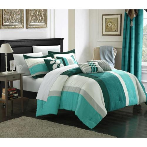 Chic Home Valley 11-Piece Plush Turquoise Microsuede Striped Comforter Set Bed in a Bag King