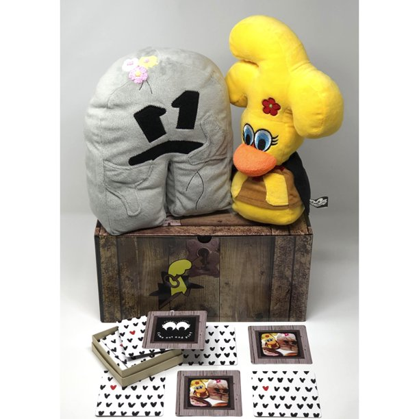 The Chickenlivers Original Character Memory Game and Flying Chicken and Rock Plush Toy Play Set