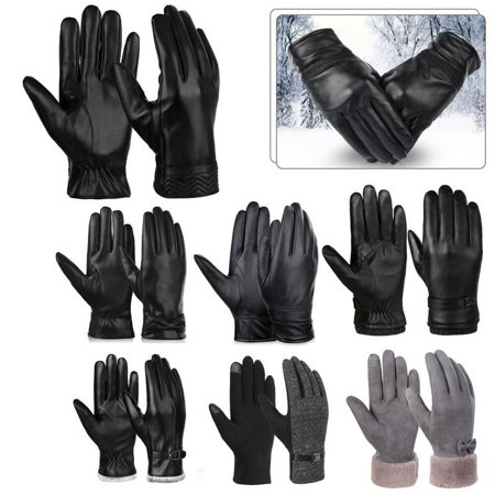 - Vbiger PU Leather Gloves Warm Winter Gloves Flexible Touch Screen Gloves Cold Weather Gloves Casual Outdoor Sports Gloves for Men, Black