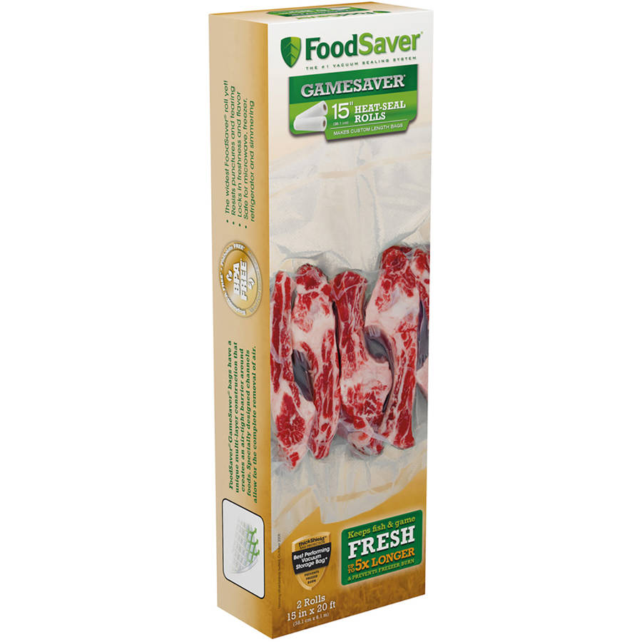 "FoodSaver GameSaver 15"" x 20' Heat-Seal Long Rolls, 2pk"