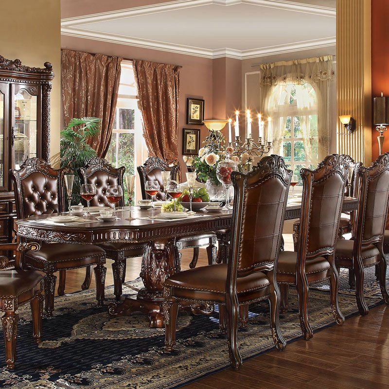 Acme Furniture Vendome Rectangular Double Pedestal Dining Table by