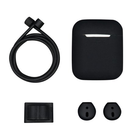 4 in 1 Airpods case include anti-lost rope,a storage box,a hang buckle and two ear capsp, airpods accessories kits protective silicone case and skin for Apple airpods charging case,Black