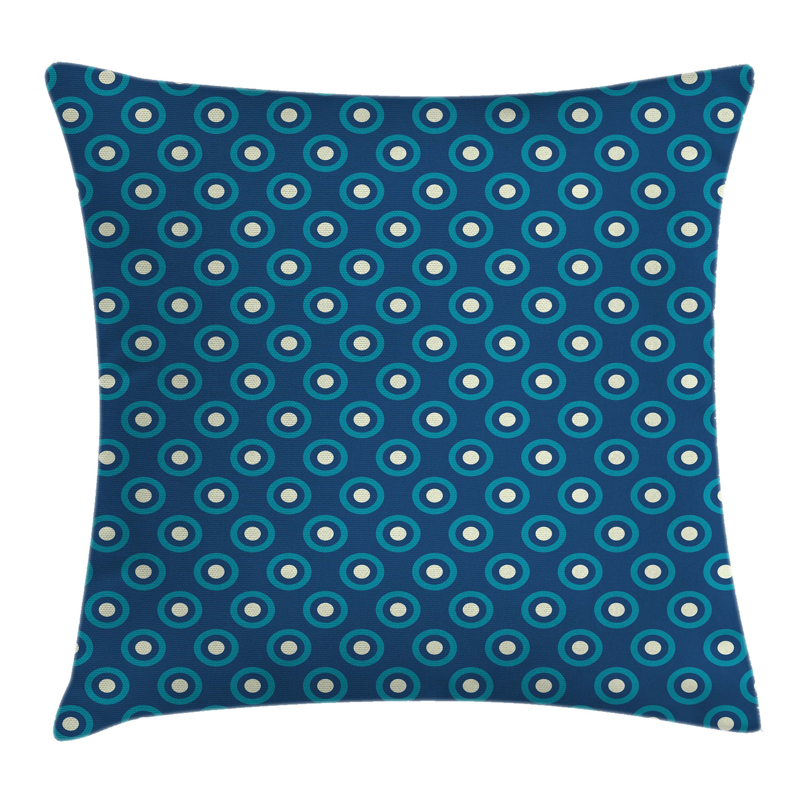 Navy and White Throw Pillow Cushion Cover, Circles with White Polka Dots Ancestral Folk Evil Eye Style Tile, Decorative Square Accent Pillow Case, 18 X 18 Inches, Dark Blue Teal White, by Ambesonne