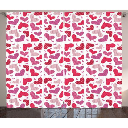 Valentines Curtains 2 Panels Set  Doodle Hand Drawn Symbols Of Love And Affection With Many Patterns  Window Drapes For Living Room Bedroom  108W X 84L Inches  Pink Ruby Dried Rose  By Ambesonne