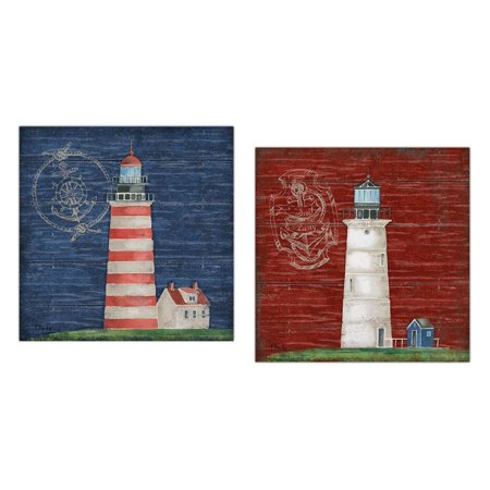 Boothbay Lighthouse I Nautical Theme Red and Blue Lighthouse Set; Coastal Decor; Two 12x12 Poster Prints. (Printed on Paper, Not Wood) - Nautical Themed Decor