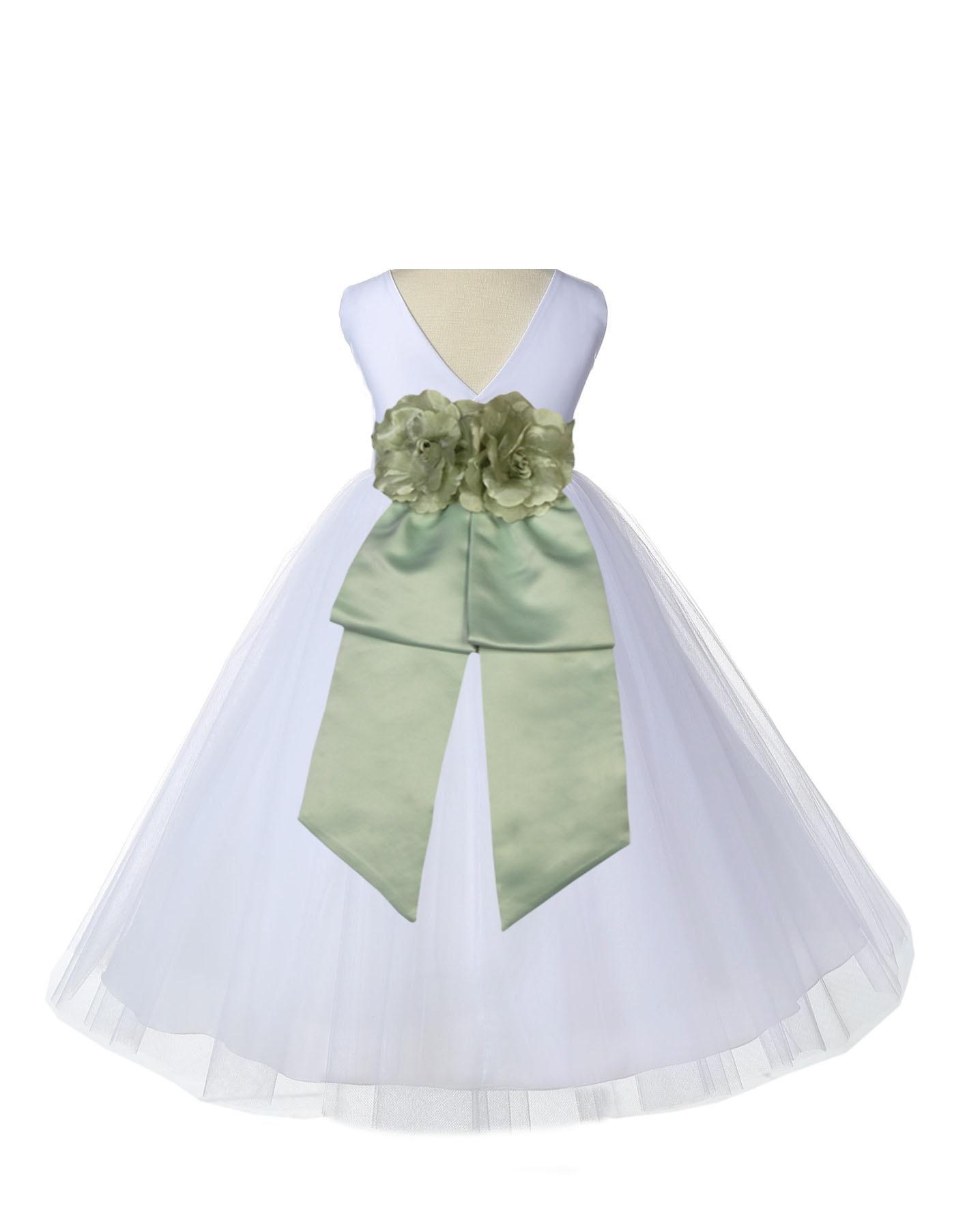 Ekidsbridal V-Shaped Back Neckline White Flower Girl Dress Tulle Junior Bridesmaid Wedding Pageant Toddler Recital Easter Holiday Communion Baptism Formal Occasions 108a